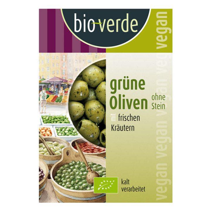 Био зелени маслини без костилки с билки 150г