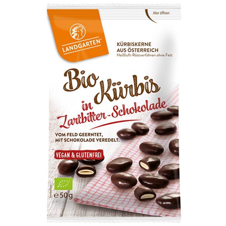Био печени тиквени семена в черен шоколад 50г
