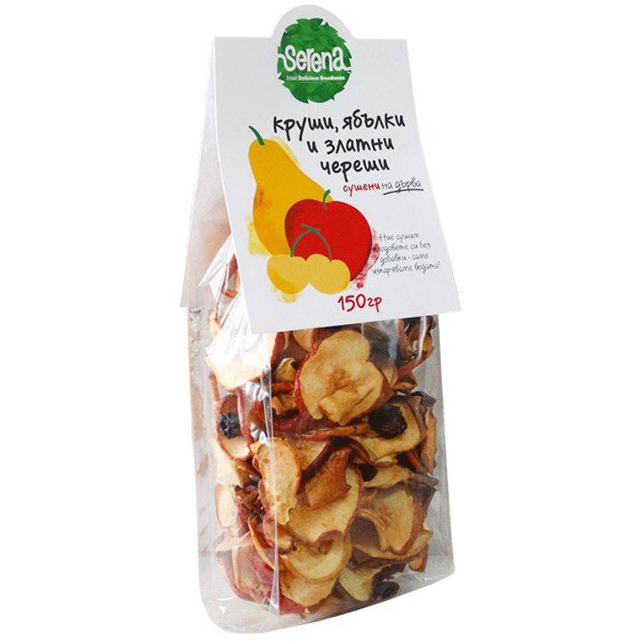 Сушен микс златни череши, круши и ябълки 150г