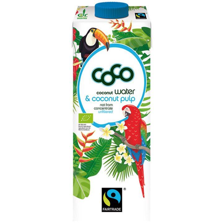 Био кокосова вода с кокосов пулп 1л