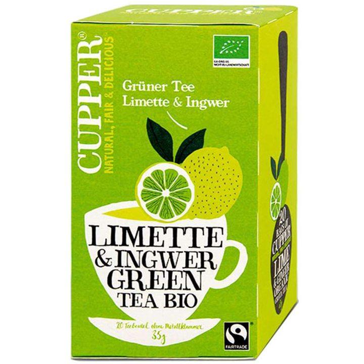 Био зелен чай лайм и джинджифил 35г