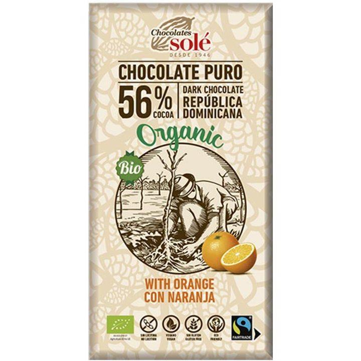 Био черен шоколад с портокал 100г