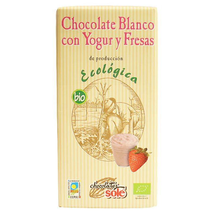 Био бял шоколад с йогурт и ягода 100г