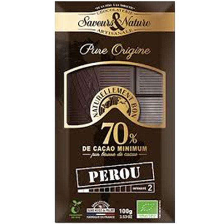 Био черен шоколад 70% какао Перу 100г