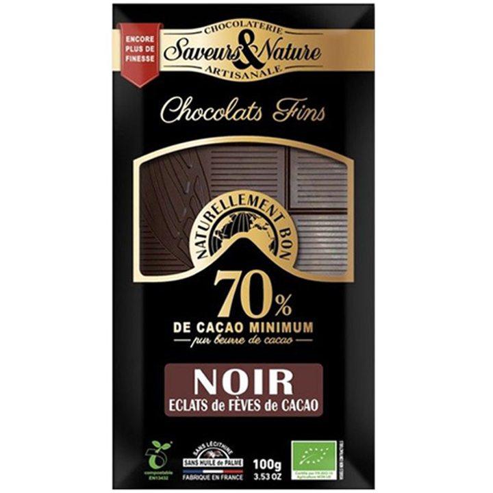 Био шоколад черен 70% какао с какаови зърна 100г