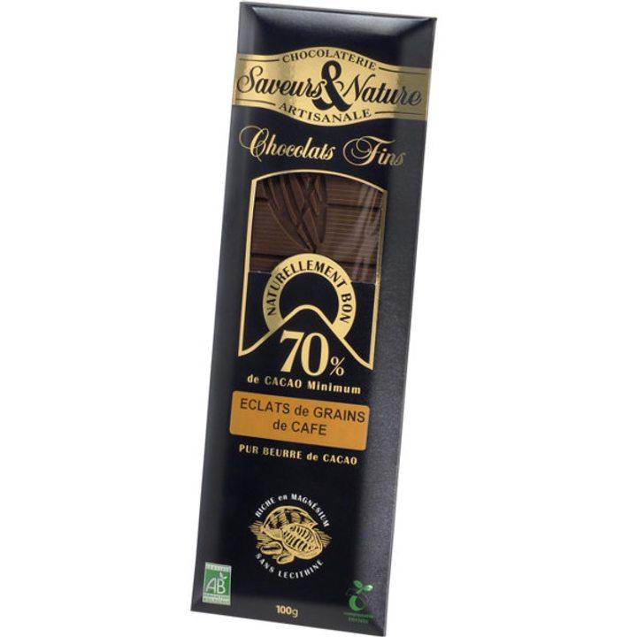 Био шоколад черен с парченца кафени зърна 100г