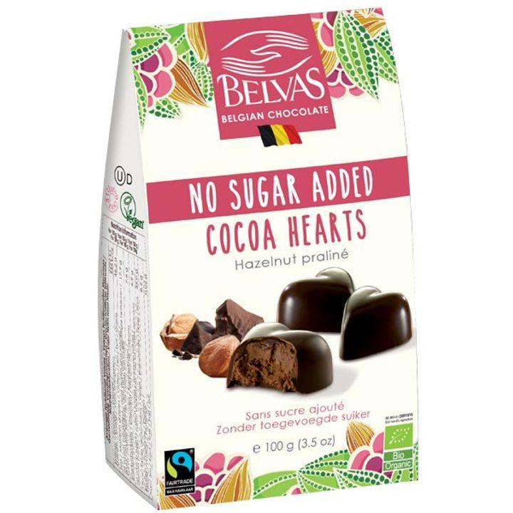 Био какаови сърца с лешници, без захар 100г