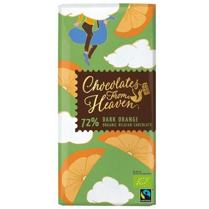 Био черен шоколад 72% с портокалови корички 100г