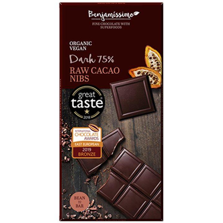Био шоколад суров какао нибс 75% - 70г
