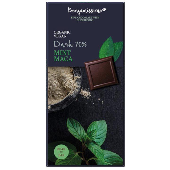 Био шоколад мента и мака 70% - 70г