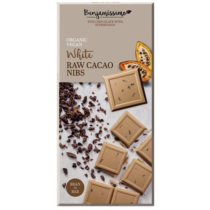 Био шоколад суров какао нибс бял 70г