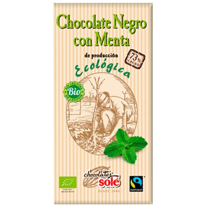Био черен шоколад 73% с мента 100г