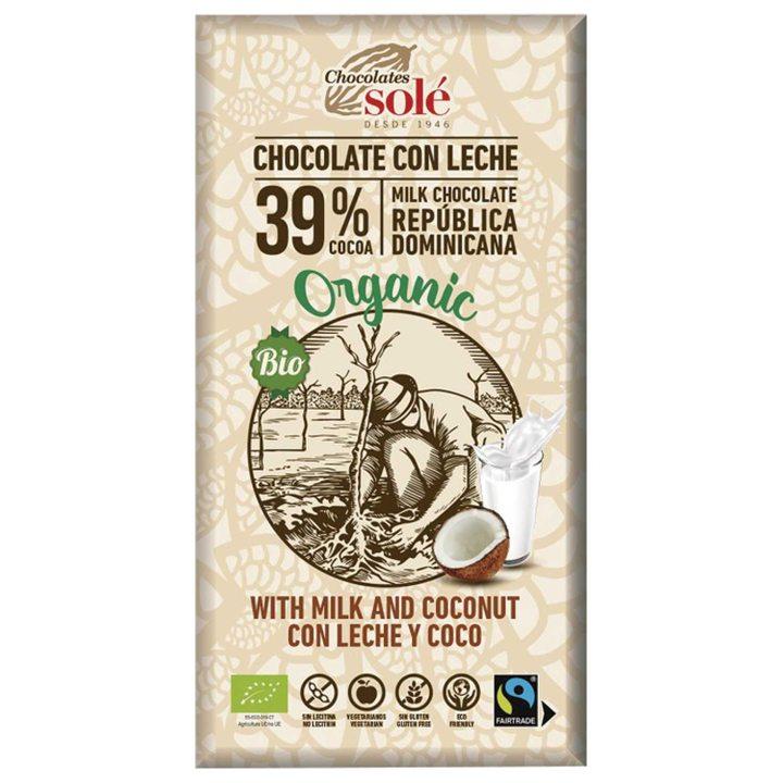 Био млечен шоколад с кокос 100г