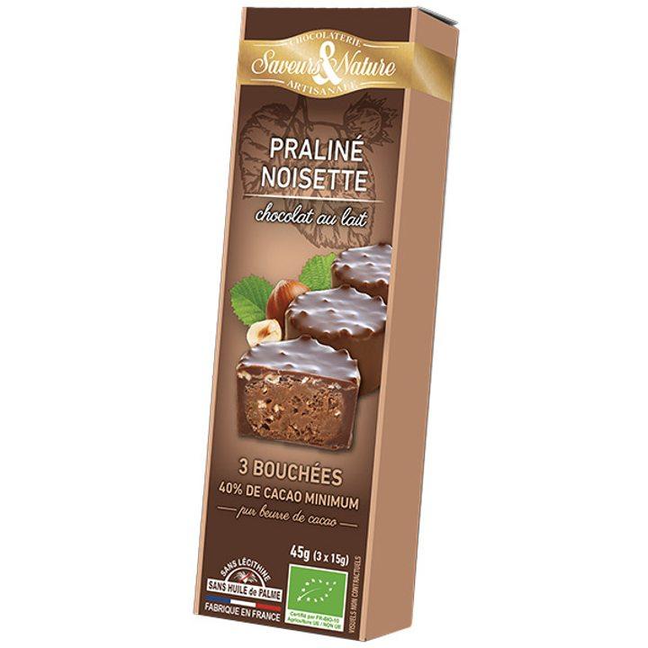 Био млечен шоколад с лешникова пралина 3бр. 45г