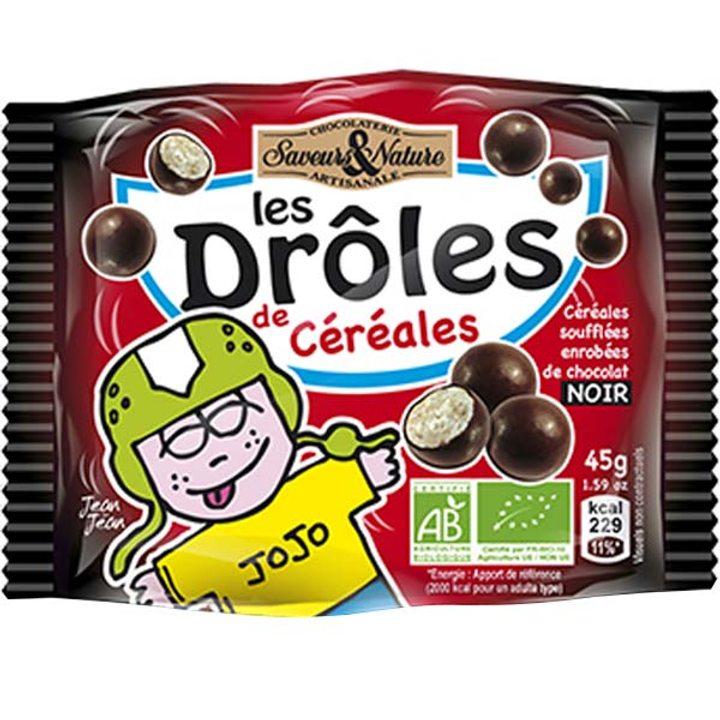 Био зърнени топчета в черен шоколад 45г