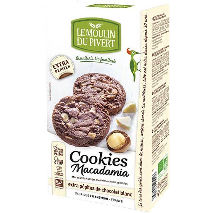 Био бисквити с макадамия и парченца бял шоколад 175г