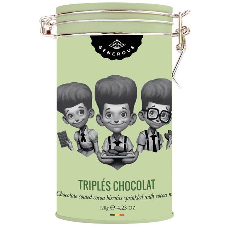 Био бисквити троен шоколад в метална кутия без глутен 120г