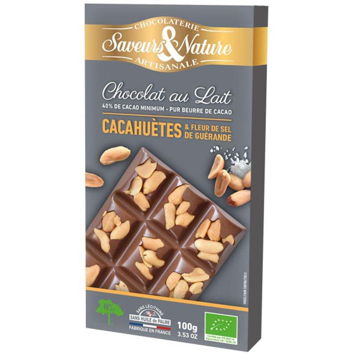 Био шоколад млечен 40% какао с фъстъци и морска сол 100г