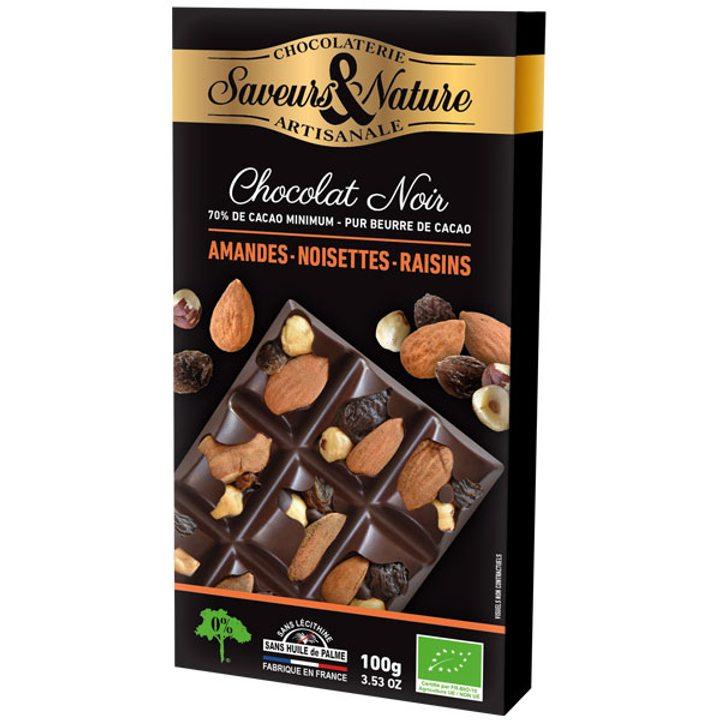 Био шоколад черен с цели лешници, бадеми и стафиди 100г