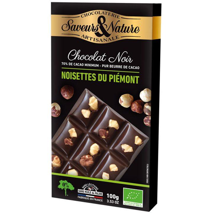 Био шоколад черен с цели лешници 100г