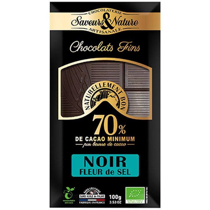 Био шоколад черен 70% какао и морска сол 100г