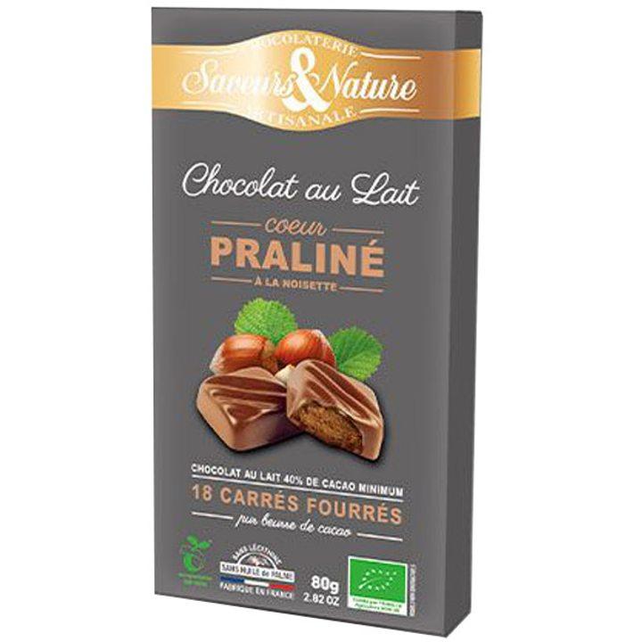 Био шоколад млечен 40% какао с лешникова пралина 80г