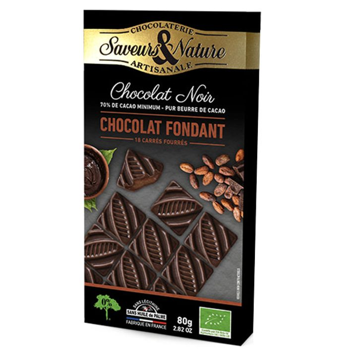 Био шоколад черен 70% какао с шоколадов ганаж 80г