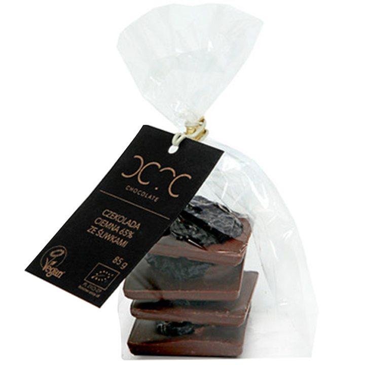 Био черен шоколад 65% какао с калифорнийски сливи 85г