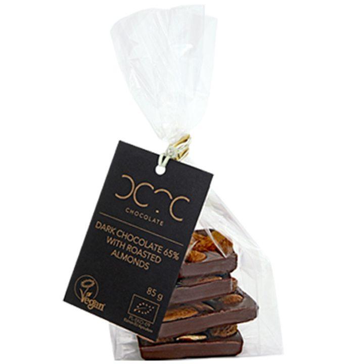 Био черен шоколад 65% какао с печени бадеми 85г