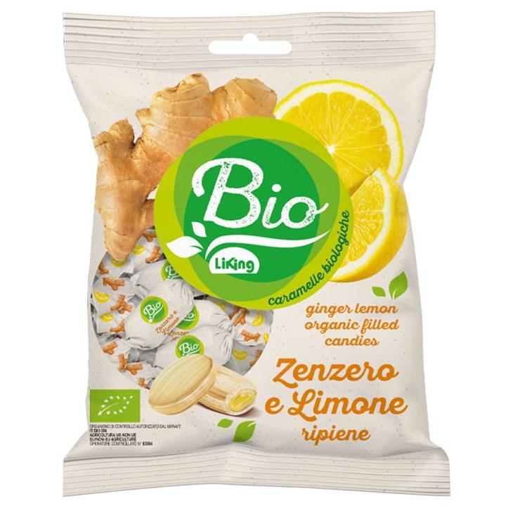 Био бонбони с пълнеж джинджифил и лимон 90г