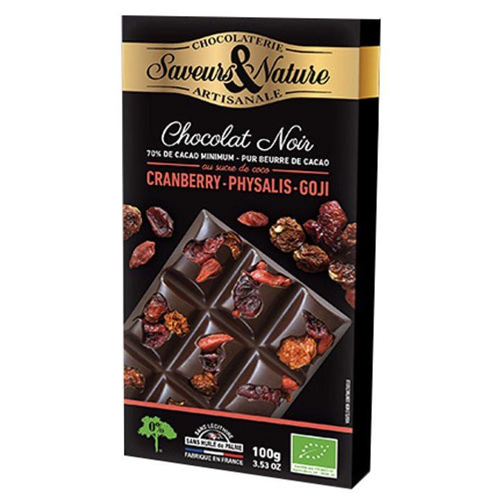 Био шоколад черен с физалис, червени боровинки и годжи бери 100г