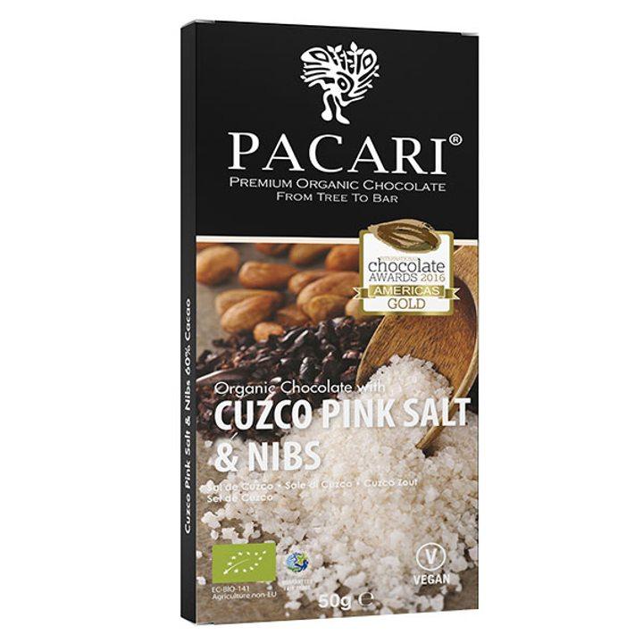 Био шоколад 60% какао розови кристали и какаови зърна 50г