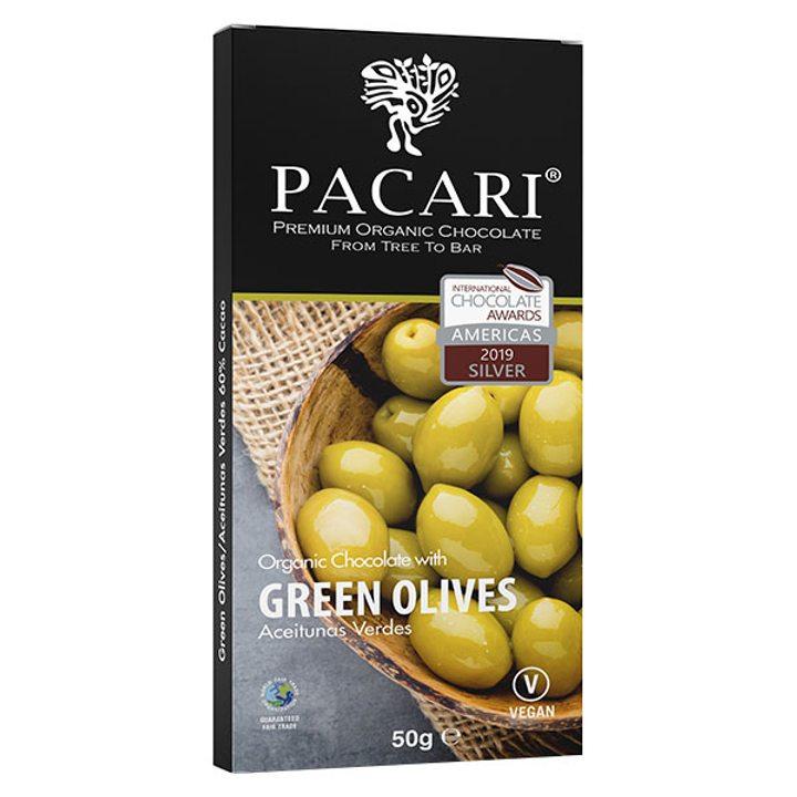 Шоколад 60% какао със зелени маслини 50г