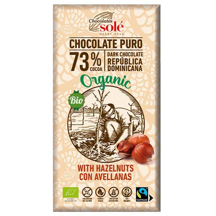 Био черен шоколад  73% с лешници 150г
