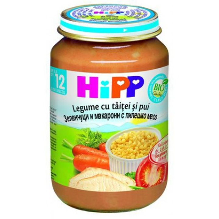 Био пюре от зеленчуци, макарони и пилешко месо HIPP 220г