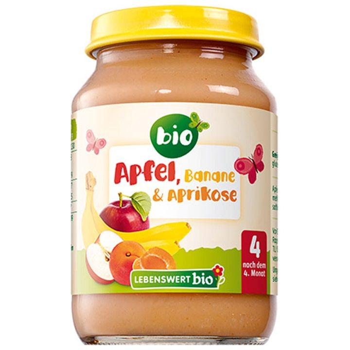Био пюре от ябълки, банани и кайсии 190г