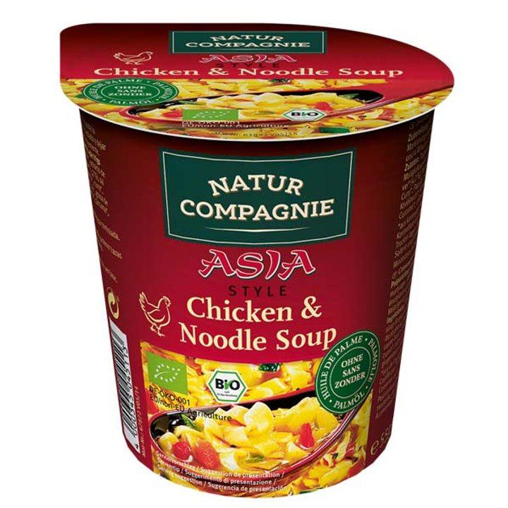 Био инстантна пилешка супа стил Азия в чаша 55г