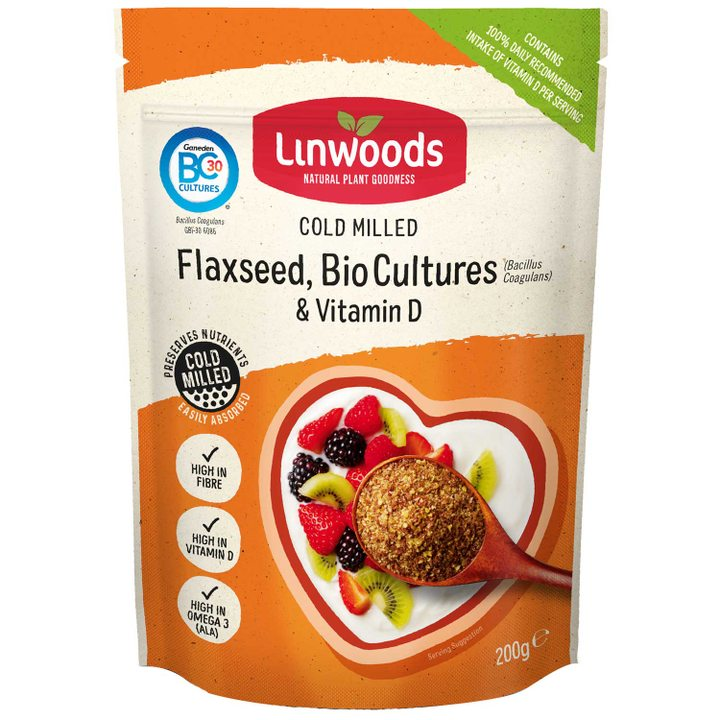 Студено смляно ленено семе с био култури и витамин D 200г