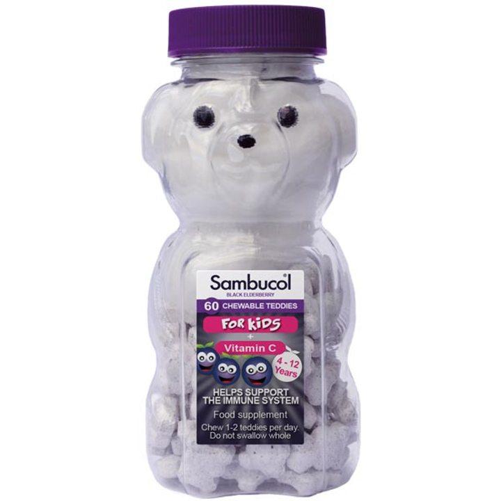Самбукол за деца Теди с Антивирин + Витамин C 60 дражета