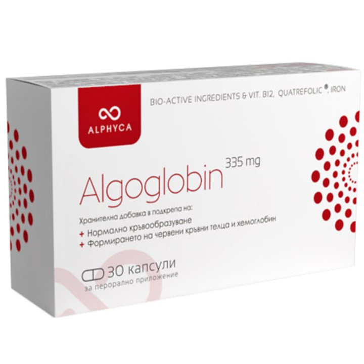 Спирулина Algoglobin Alphyca 335мг, 30 капсули
