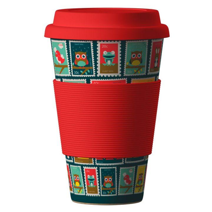 Еко чаша от бамбук Марки червена 400мл
