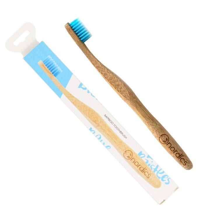 Веган бамбукова четка за зъби за възрастни синя