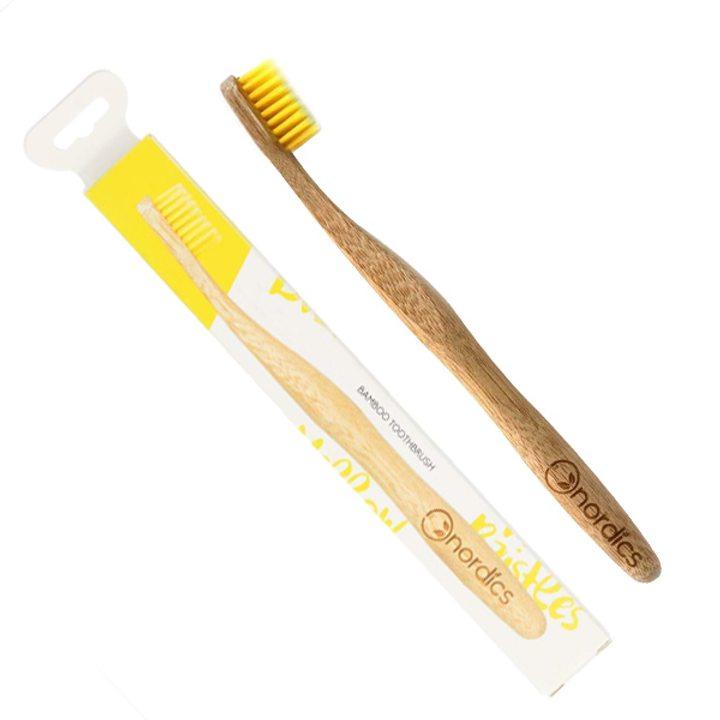 Веган бамбукова четка за зъби за възрастни жълта