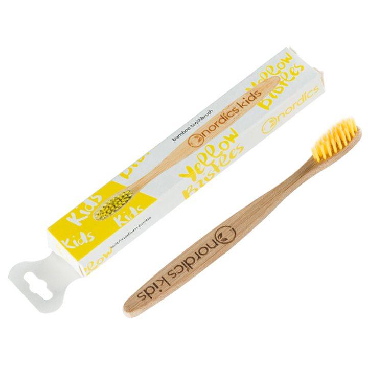 Веган бамбукова четка за зъби за деца жълта