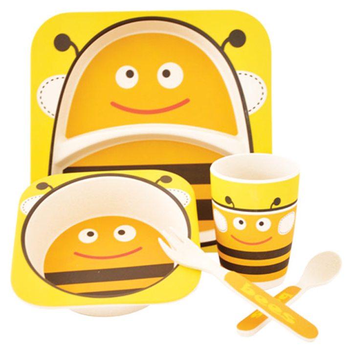 Еко детски комплект от бамбук 5 части Пчела
