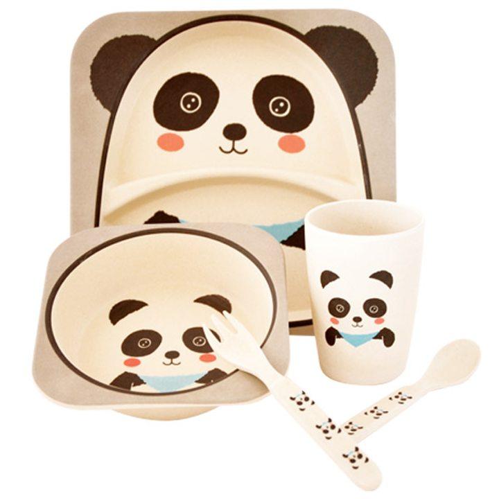 Еко детски комплект от бамбук 5 части Панда