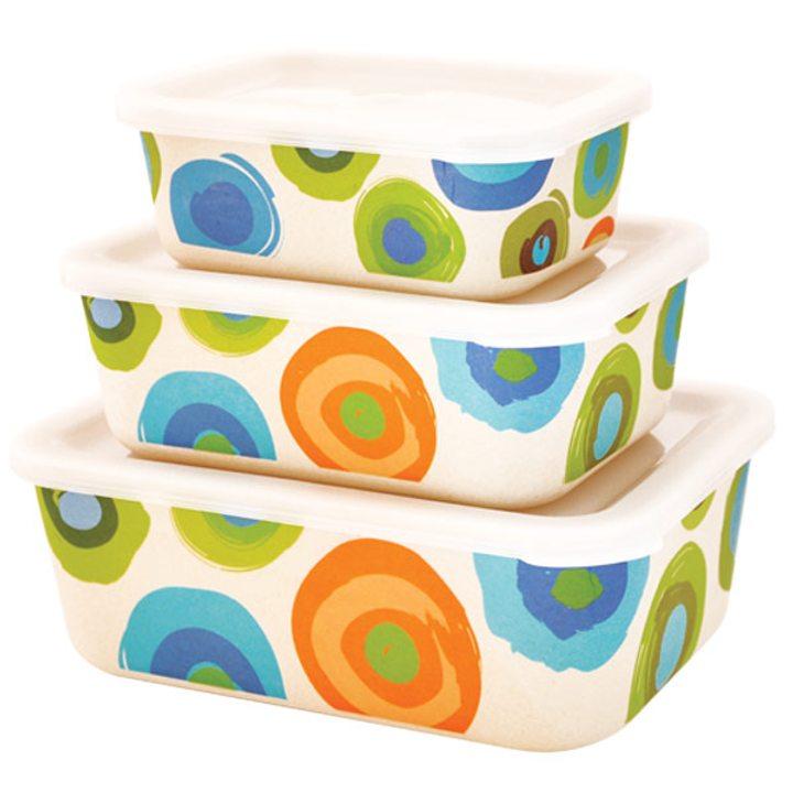 Еко кутии от бамбук за храна 3бр. цветни кръгове
