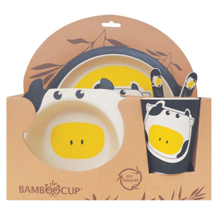 Еко детски комплект от бамбук 5 части Крава