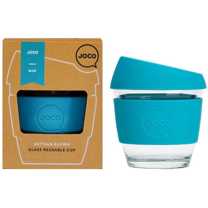Термо чаша от стъкло със сини, силиконови капак и ръкав 240мл