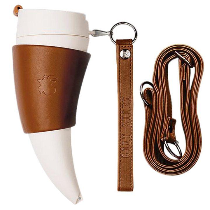 Чаша рог с капак бяла, държач и дръжки от кафява изкуствена кожа 350мл